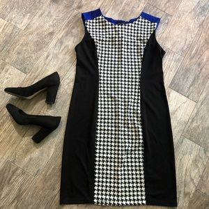 tweed print dress with blue accents